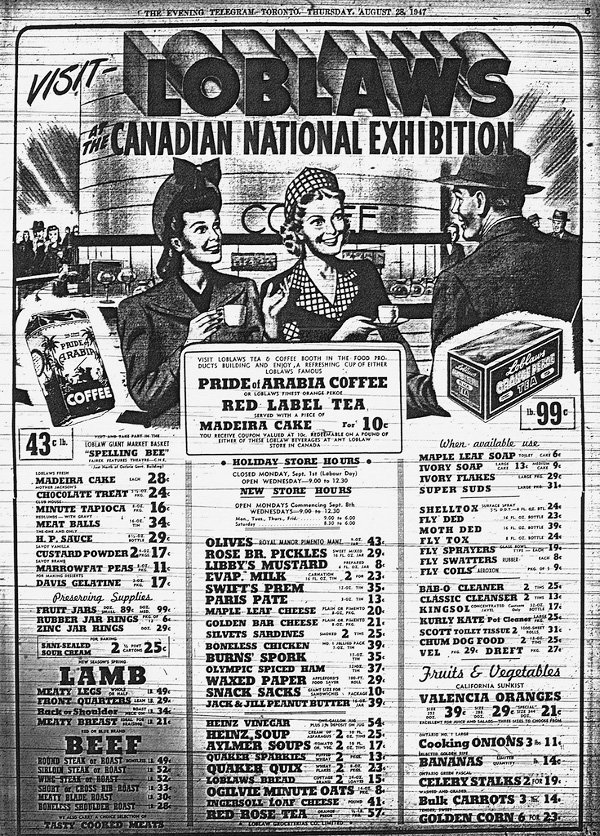 1947 - Ad for Loblaws at the Canadian National Exhibition