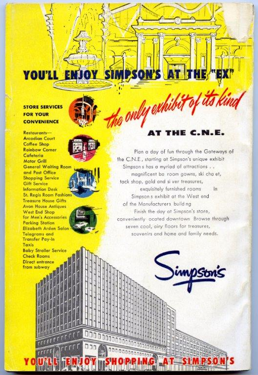 1957 - Ad for Simpson's in an Exhibition program