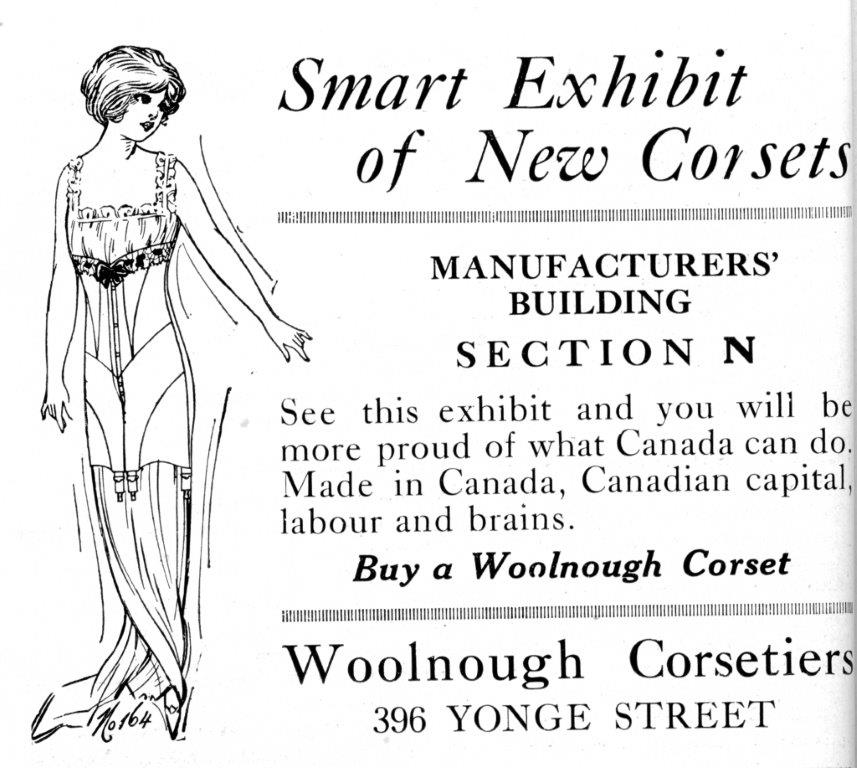 1916 - Ad for Wollnough Corsetiers in an Exhibition program