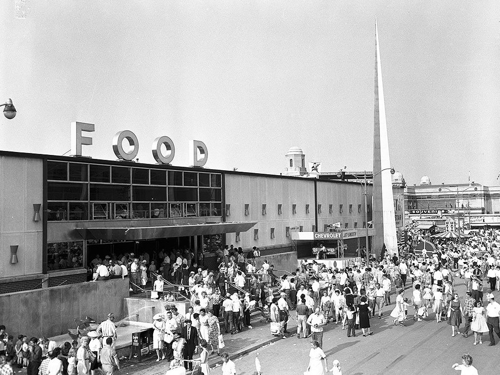 1954/60 - Crowds in front of the Food Building at the Canadian National Exhibition