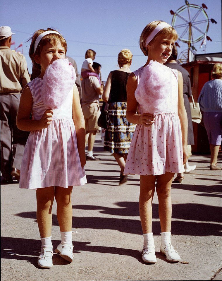 1960's - Enjoying pink cotton candy on The Midway