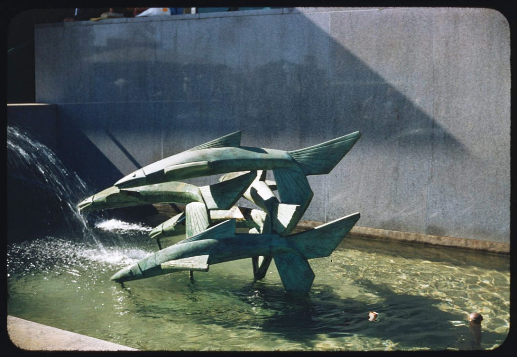 1955 - One of the two fish fountains beside the Food Building at Exhibition Place