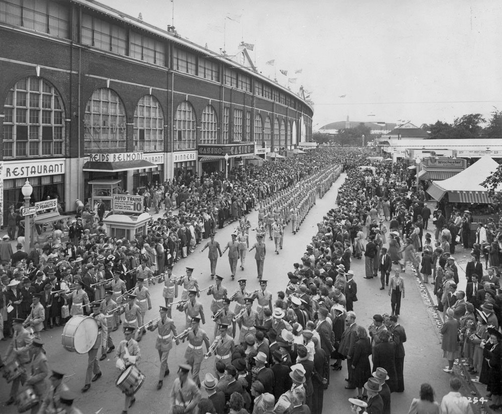 Prior to 1946 - Armed Forces parade behind the north side of Exhibition Stadium, looking west