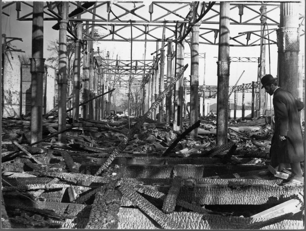 1906 - Fire ruins of the second Exhibition Grandstand