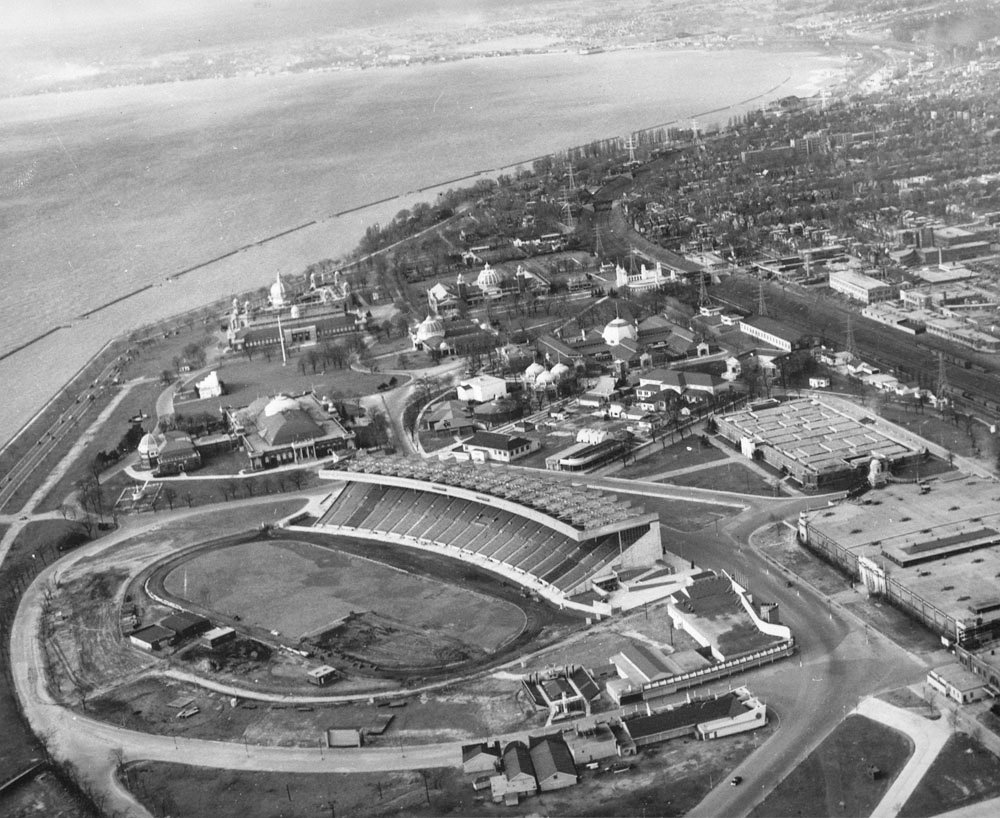 1948 - Aerial view of Exhibition Stadium, grounds and surrounding area