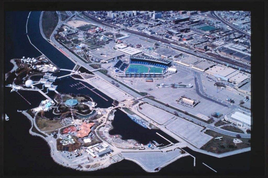 1980's - Aerial view of Exhibition Place and Ontario Place, looking northwest