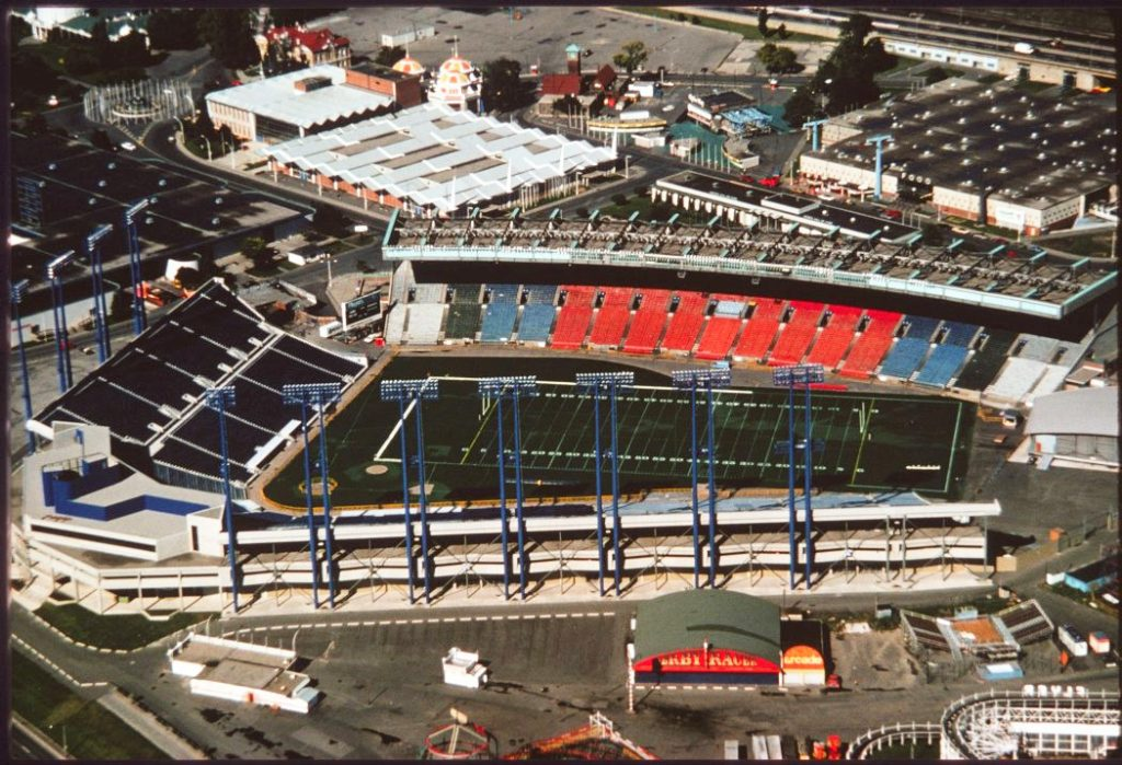 1976 - Exhibition Stadium and surrounding buildings at Exhibition Place