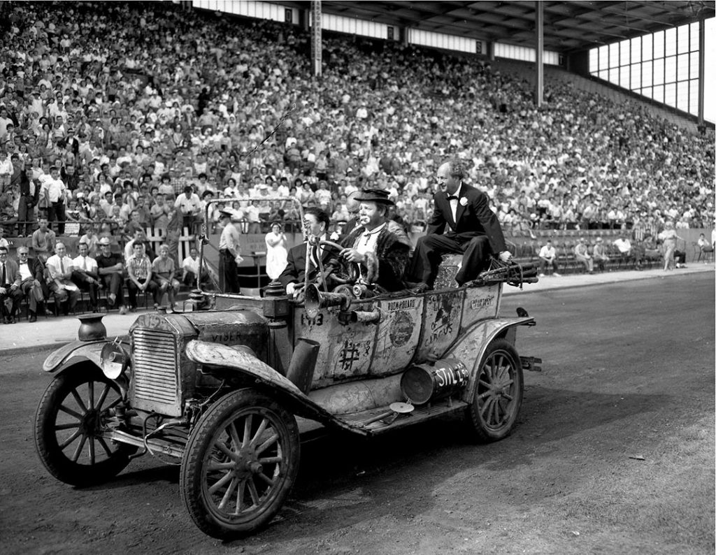 1960's - The Three Stooges and crowds at the Grandstand
