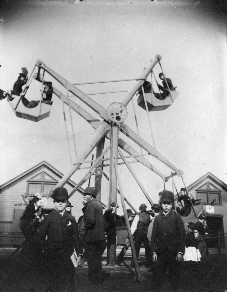 1895 - A hand-cranked Ferris Wheel at the Canadian National Exhibition