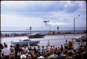 1972 - The Air Show at the CNE from Lake Shore Blvd W, looking over Lake Ontario