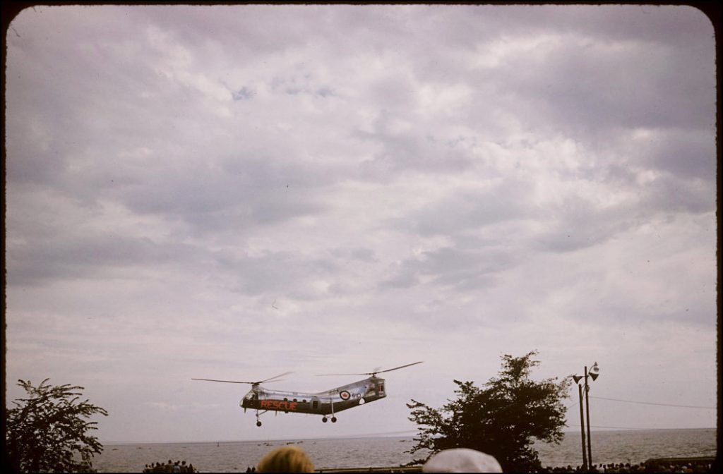 1957 - Royal Canadian Air Force Rescue helicopter over Lake Ontario, during the CNE