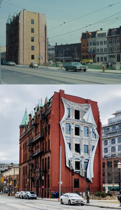 1970's/2020 - The Flatiron Mural by Derek Michael Besart at the Gooderham Building. Located at Wellington, Front & Scott Sts
