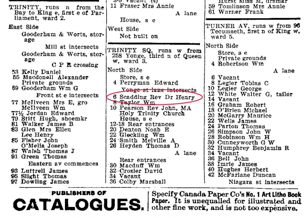 1896 - The Toronto City Directory showing the address as the Rev Dr Henry Scadding