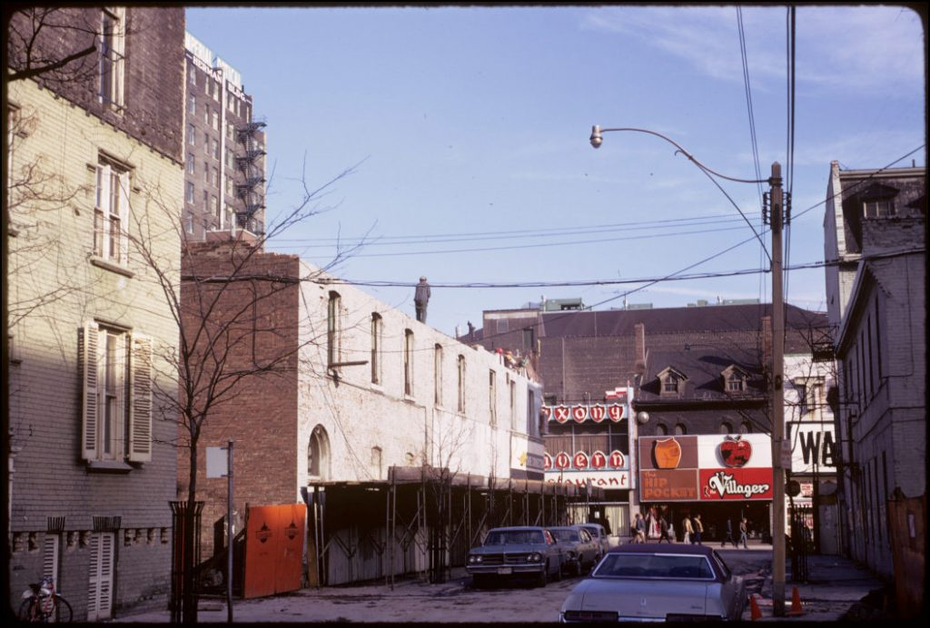 1973 - Scadding House (on left) in its original location, looking east towards Yonge St and before the Eaton Centre was built