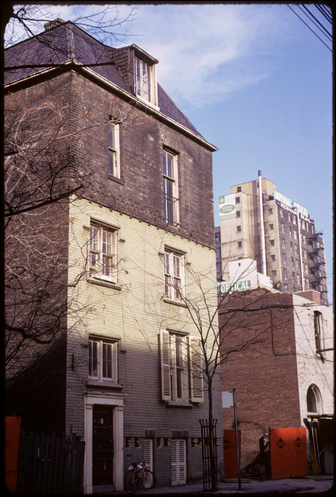 1973 - Scadding House at its original location at 6 Trinity Sq, looking northeast