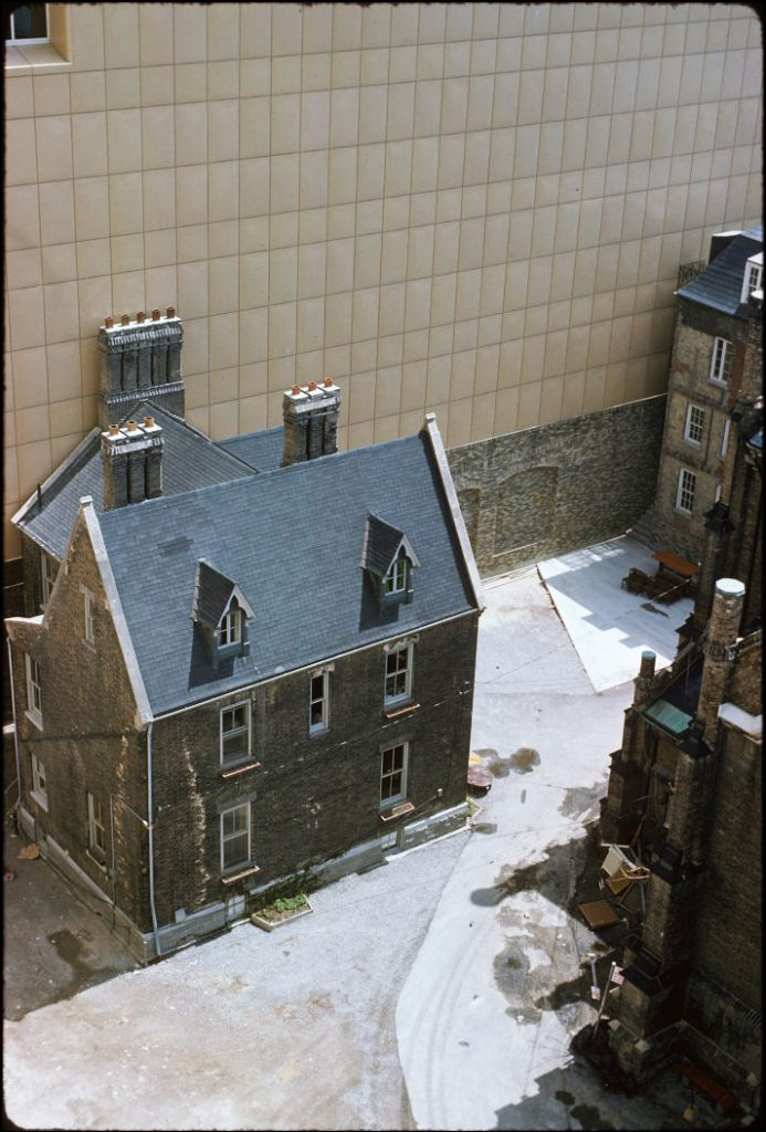 1977 - An overhead view of the Scadding House (upper right) and the Rectory directly beside the west wall of the Eaton Centre