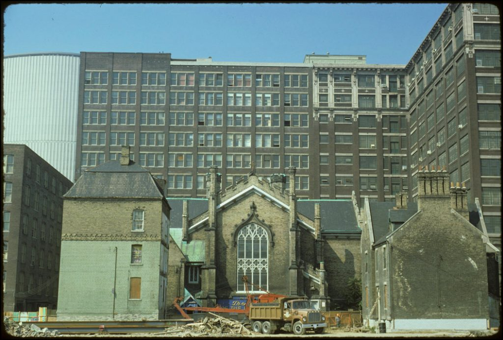 1974 - Scadding House, Church of the Holy Trinity, Rectory and Eaton's Warehouse, looking west
