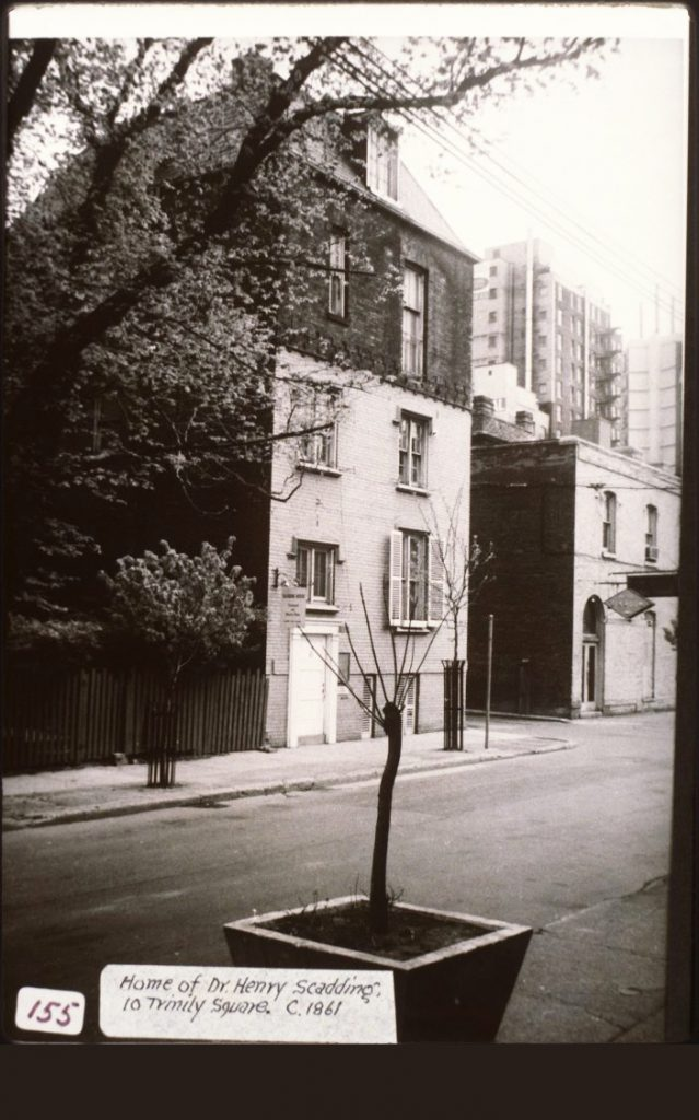 1960's - Dr Henry Scadding's Home at 6 Trinity Sq, its original location, looking northeast