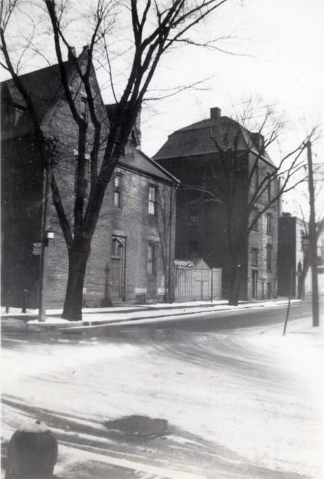 1936 - Rectory (on left) and Scadding House (near right) on Trinity Sq, looking east towards Yonge St