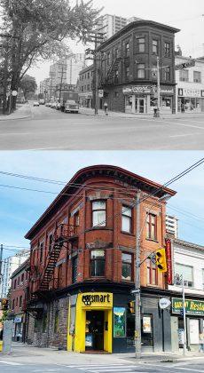 1976/2020 - Howard Coffee Shop/Eggsmart at Sherbourne & Howard Sts, southeast corner