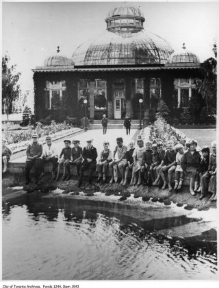 1920's - Gathered around the Fountain by the Palm House at Allan Gardens