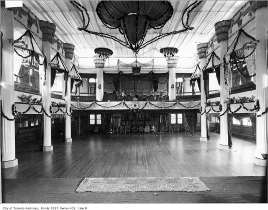 1899 to 1902 - The interior of the Pavilion decorated for a R.C.Y.C. Ball
