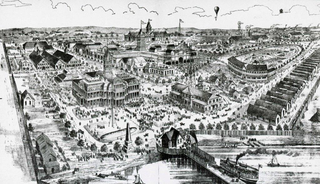 1887 - An illustration of CNE grounds, looking northeast from the foot Dufferin St and Lake Ontario