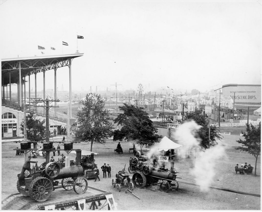 1907 - Farm equipment display and Grandstand at the Canadian National Exhibition