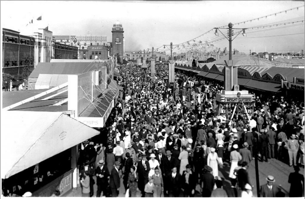 1936 - The CNE Midway in front of the Coliseum, looking west