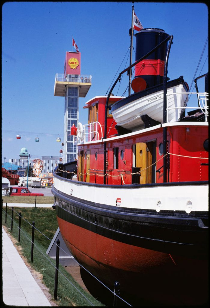 1972 - Ned Hanlan boat, Shell Tower and the Alpine Way at the CNE