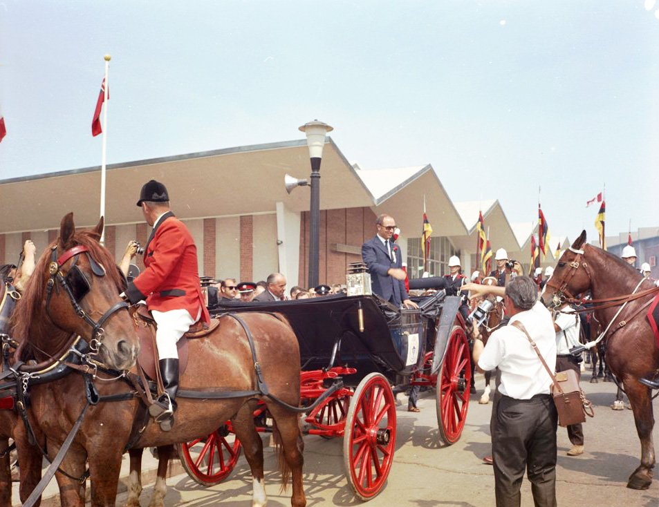 1969 - Prime Minister Pierre Trudeau arriving at the CNE by horse and buggy