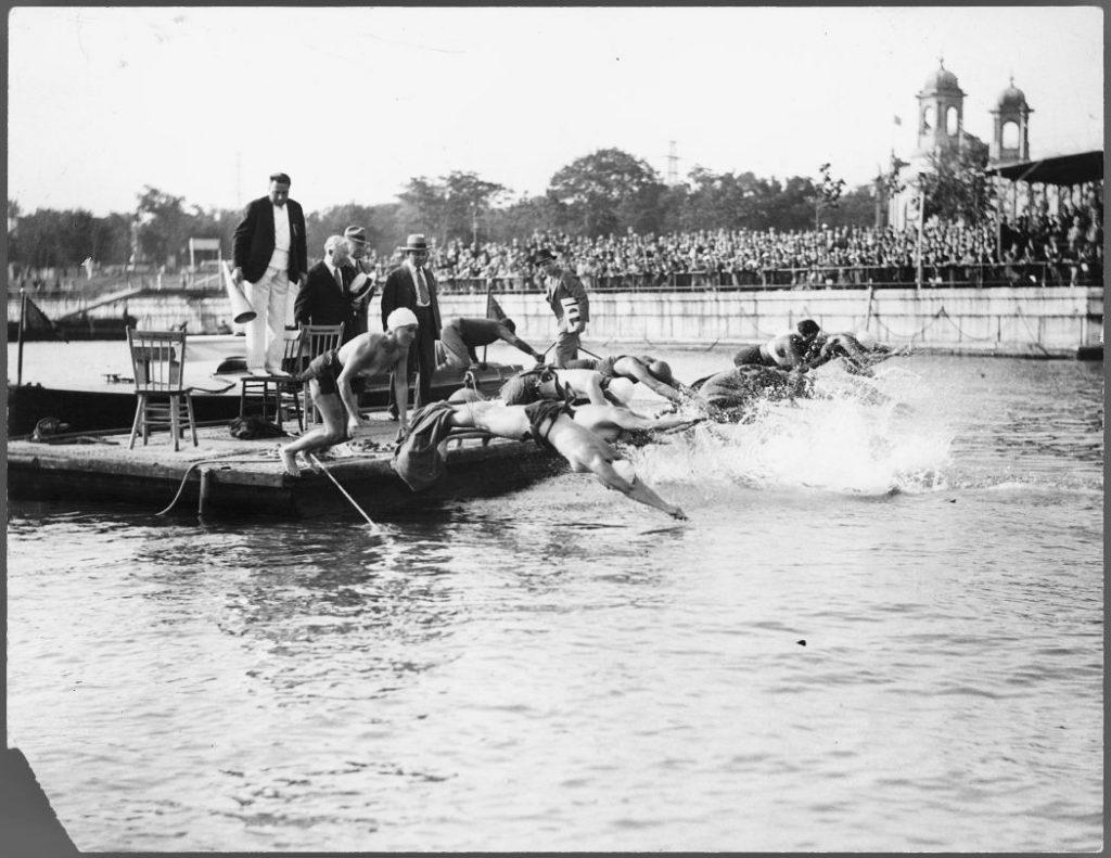 1930 - The start of the women's marathon swim at the CNE