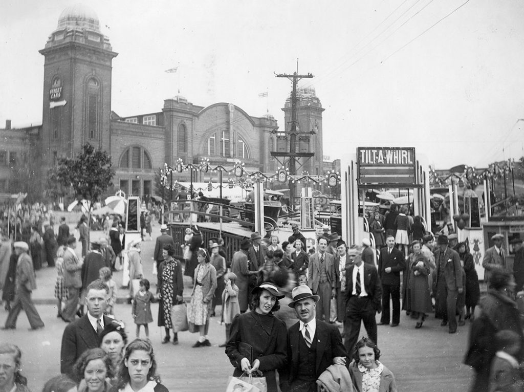 1937 - The CNE Midway when it was on the north side of the Coliseum, where the Gardiner Expressway stands today