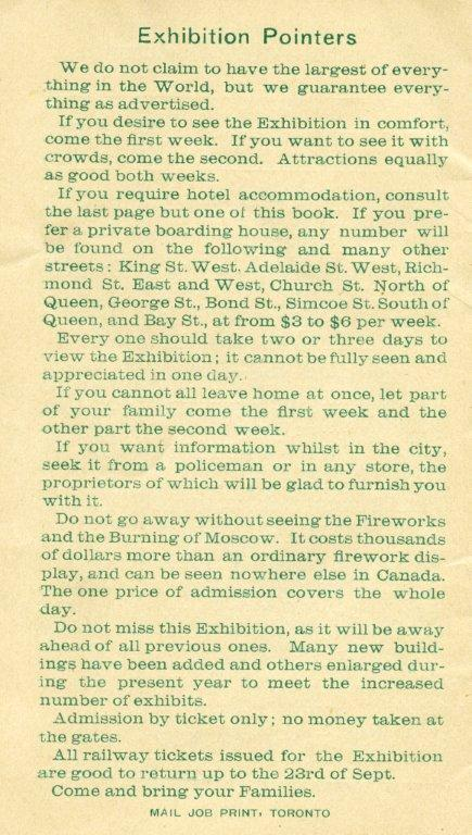 1889 - Pointers for attending the Exhibition
