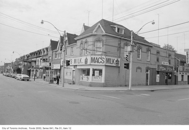 1972 - Mac's Milk once at 592 Parliament St (now Jamestown Milk), and first Pizza Pizza Store