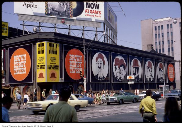1971 - Brown Derby Tavern once at Yonge and Dundas Sts, northeast corner