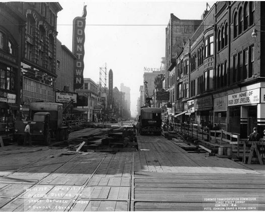 1950 - Downtown Theatre once at 285 Yonge St, south of Dundas St E on east side - opened from 1948 to 1972, building no longer exists