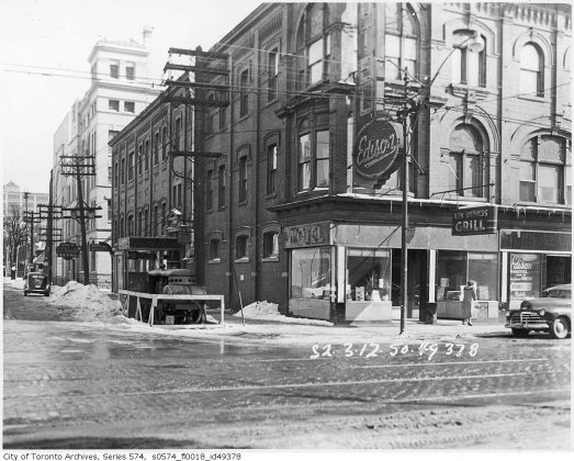 1950 - Edison Hotel once at 335 Yonge St at Gould St, southeast corner - building no longer exists