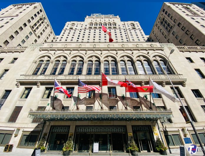 Fairmont Royal York Hotel at 100 Front St W in downtown Toronto (2021)