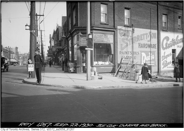 1930 - Geo. Stirrett & Son Hardware was once at 1615 Dundas St W (at Brock Ave) - now Safehouse Coffee