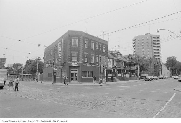 1972 - George's Spaghetti House once at 290 Dundas St E (northwest corner at Sherbourne St)