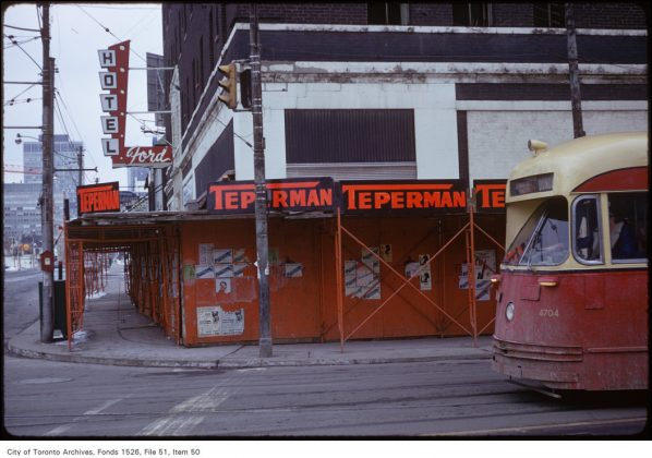 1974 - Hotel Ford once at Bay St and Dundas St W, northeast corner - building no longer exists