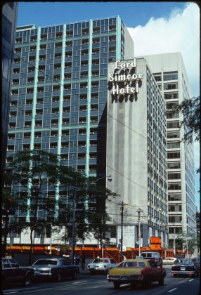 1980 - Lord Simcoe Hotel once at 150 King St W, and University Ave, northeast corner