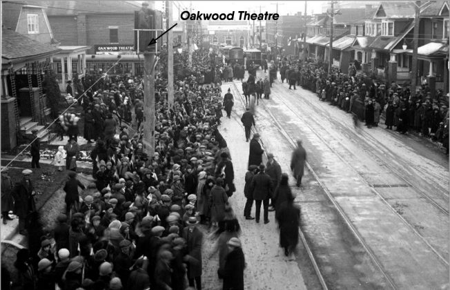 1924 - Oakwood Theatre once at 165 Oakwood Ave, north of St Clair St E on east side - opened from 1917 to 1962, building no longer exists