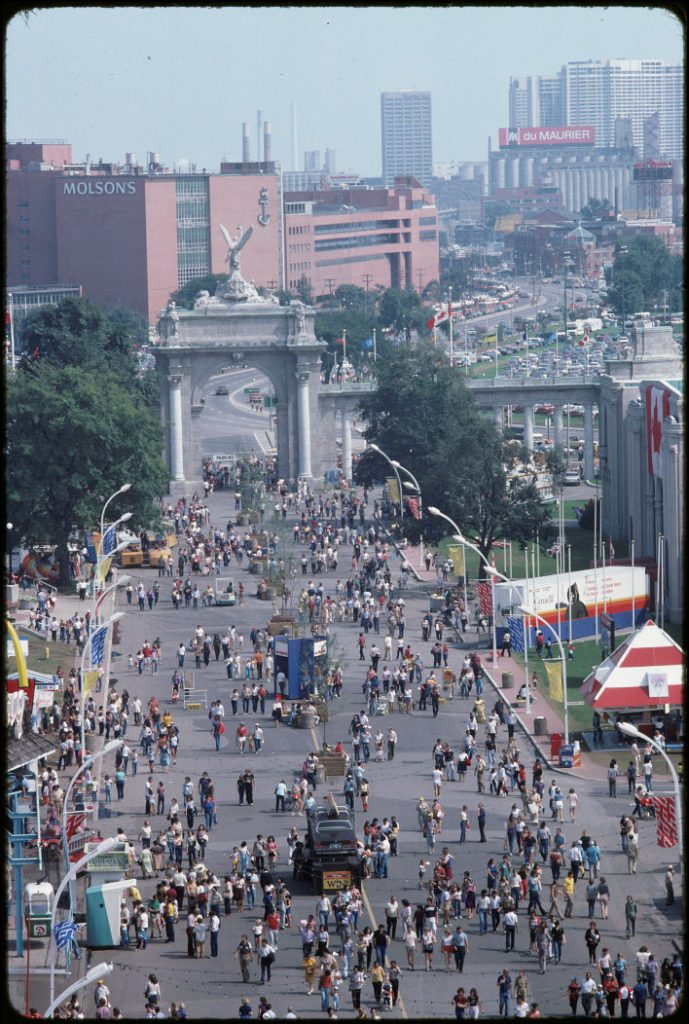 1981 - Overhead view of the Princes' Gates, the CNE and surrounding area