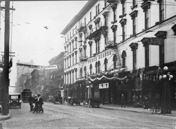 1912 - Prince George Hotel once at King St W and York St, southeast corner - formerly Rossin House built in 1856