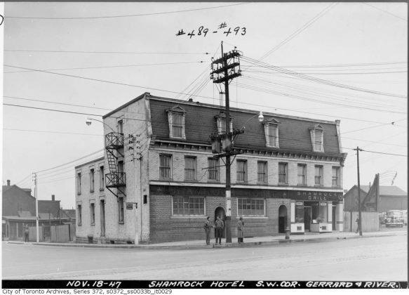 1947 - Shamrock Hotel once at Gerrard St E and River St, southwest corner