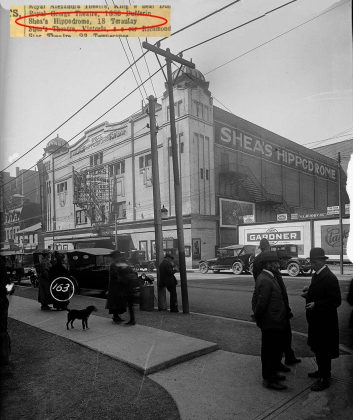 1921 - Shea's Hippodrome Theatre once at 18 Teraulay St (which later became 440 Bay St), north of Queen St W on east side - opened from 1914 to about 1957, building no longer exists