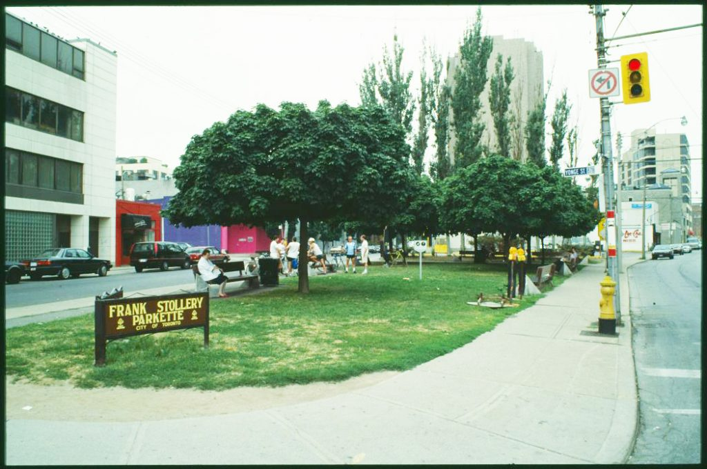 1987/91 - Frank Stollery Parkette at Davenport Rd, Yonge and Scollard Sts, looking west