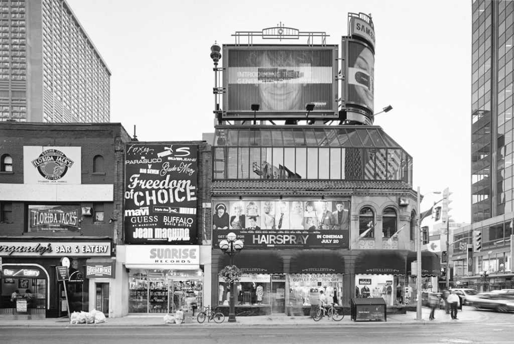 2007 - Stollery's, Sunrise Records and Burgundy's at Yonge and Bloor Sts, southwest corner